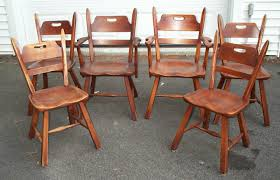 set of 6 cushman colonial creations maple dining chairs antique