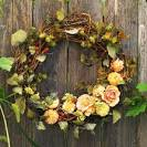Fall Wreaths Made of Leaves, Flowers, Wheat, and More Natural ...