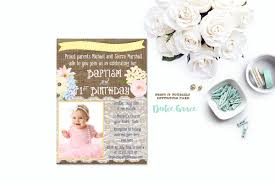 Invitation Cards Baptism 1st Birthday And Baptism Invitation Diy Printable Baptism