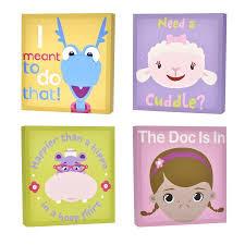 Doc Mcstuffins Home Decor Disney Doc Mcstuffins 4 Pack Canvas Wall Art Walmart Com