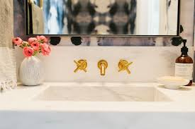 Bathroom Sink Wall Faucets by Floating Powder Room Vanity With Curved Bowl Sink And Wall Mount
