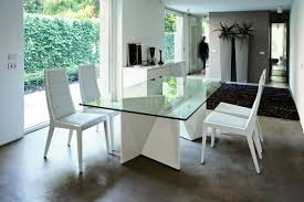 ultra modern dining table w two pedestal legs u0026 glass top
