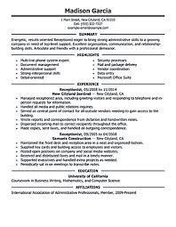 Sample Resume Objectives Warehouse Worker by Resume Objective For Receptionist Free Resume Example And