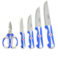 5 piece stainless steel kitchen knife set with scissor king gary