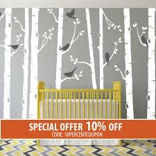 Tree Decal For Nursery Wall by Birch Tree Wall Decal Birch Tree With Birds Wall Sticker Set