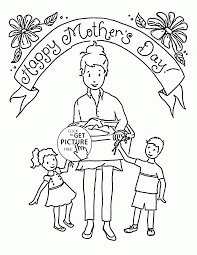happy mother and her kids mother u0027s day coloring page for kids