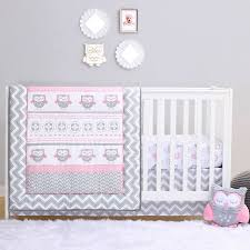 grey and pink chevron owl 4 piece baby crib bedding set by belle