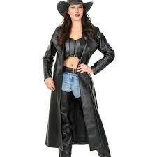 Halloween Costume Leather Jacket Black Western Duster Costume Cowgirl Costume