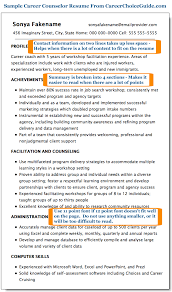 Profile Section Of Resume Examples by Sample Career Counselor Resume