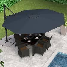 Offset Patio Umbrella by 10 Ft Offset Patio Umbrella Square Shape Wood Pole White Polyester
