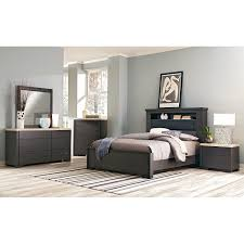 Camino Piece King Bedroom Set Charcoal And Ivory Value City - 7 piece king bedroom furniture sets