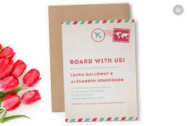 Editable Wedding Invitation Cards Free Airmail Wedding Invitation Invitation Templates Creative Market