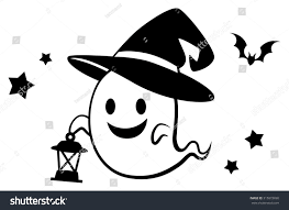 halloween cute ghost lantern black stock vector 315872690