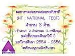 ผลการทดสอบระดับชาติ NT จำนวน 3 ด้าน ปีการศึกษา 2554-