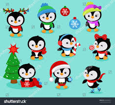 collection cute christmas penguins kids vector stock vector