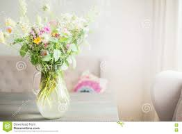 Flowers Home Decoration Lovely Wild Flowers Bunch In Glass Vase On Table In Light Living