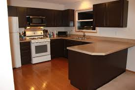 Popular Kitchen Cabinet Styles Modern Painted Kitchen Cabinet With Dark Brown Color And U Shape