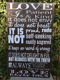 love is patient 1 corinthians 13 4 wood sign 12 x