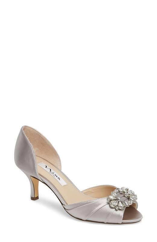 Nina Charisa Fabric Peep Toe D-orsay Pumps, Silver,