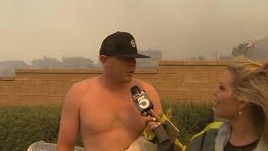 Shirtless man asks reporter on hot date