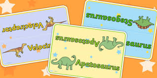 themed table signs dinosaurs signs labels history