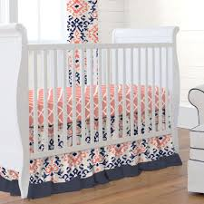 navy and coral ikat crib bedding carousel designs