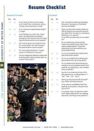 Resume Checklist Notre Dame Career Center   University of Notre Dame