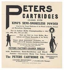 Peters Cartridge  Vintage Hunting   eBay eBay c     ANTIQUE GUN AMMO AMMUNITION BROADSIDE  PETERS CARTRIDGE Co  Cincinnati OH