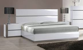 Contemporary Italian Bedroom Furniture White And Grey Gloss Long Headboard Bed With Optional Nightstands