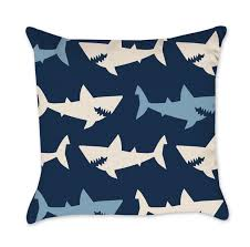 shark pillow cover turquoise and orange
