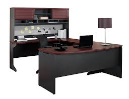 amazon com altra pursuit u shaped desk with hutch bundle cherry