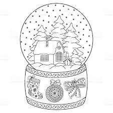 toy glass snow globe with house coloring book page for adults and