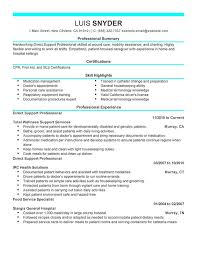 Skill Set Resume Examples by Unforgettable Direct Support Professional Resume Examples To Stand