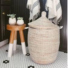 Home Goods Bathroom Decor African Basket Hamper White Medium Inside Bathroom