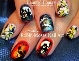 Robin Moses Nail Art by Halloween No Water Marble Nail Art Haunted House Nails Design