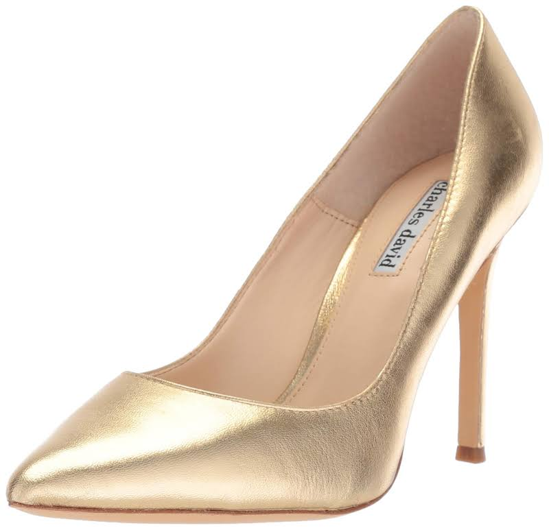 Charles David Caleesi Pointed Heel Dress Heels Gold 7.5 Medium (B,M)