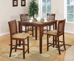 5 pc edmonton square faux marble bar height dining table set at