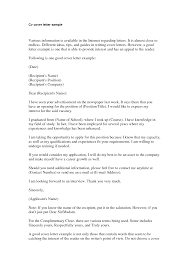 Cover Letter Template For Resume Free Example Of A Cover Letter Image Collections Cover Letter Ideas