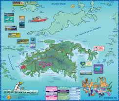 Caribbean Sea On Map by Map Of St John Us Virgin Islands Island Treasure Maps
