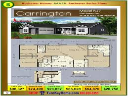 Home Floor Plans And Prices by Carrington Rochester Modular Home Ranch Model R17 Plan Price