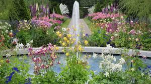 beautiful flower garden with fountain beautiful flower garden with