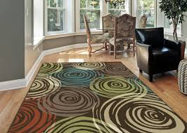 Multicolor Rug Brown Contemporary Circles Area Rug Modern Geometric Swirls Multi