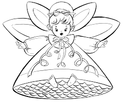 free christmas coloring pages retro angels the graphics fairy
