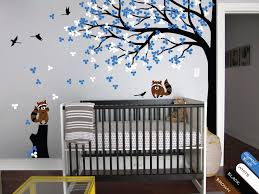 baby room tree wall decal with flowers leaves butterflies and