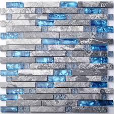 silver glass tile grey wood grain interlocking backsplash kitchen