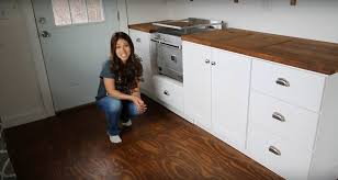 ana white shows how to build tiny house kitchen cabinets