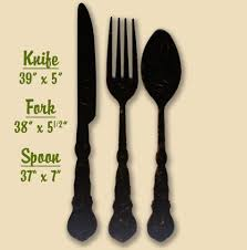 fork spoon knife rustic flatware silverware kitchen wall decor