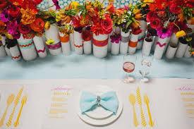 Rainbow Wedding Centerpieces by Modern Brights Wedding Inspiration