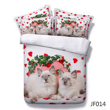 pretty blue eyes cats and red love hearts 3d bed linen buy cat