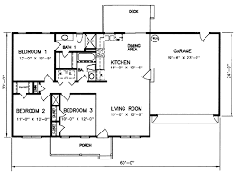 2000 Sq Ft Bungalow Floor Plans Style House Plans 1200 Square Foot Home 1 Story 3 Bedroom And